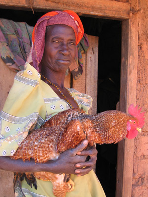 Woman with chicken's
